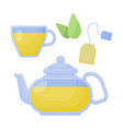 green tea flat icon set vector image