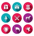 Set of Kingdom Icons Knight Castle vector image