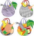 Set of plastic transparent shopping bags filled vector image