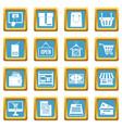 shopping icons azure vector image