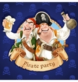 Two drunken pirates with rum and beer Banner for vector image