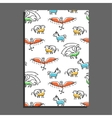 Greeting card with cute cartoon mythical beasts vector image