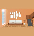 mockup living room interior with empty frames vector image