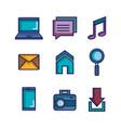 applications web icons set media items vector image
