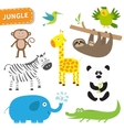 Cute jungle animal set Cute cartoon character vector image