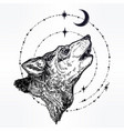 decocrative hand drawn wolf howling at moon vector image
