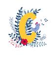 floral alphabet letter c vector image