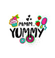 Hand drawn lettering with sweets vector image
