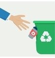 Hand throws a coffee cup in the trash vector image