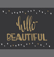 poster with lettering hello beautiful vector image
