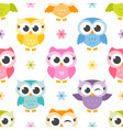 pattern with cute colorful owls and flowers vector image