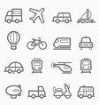 transportation symbol line icon set vector image vector image
