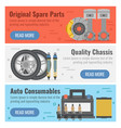 three banner for auto spare parts vector image