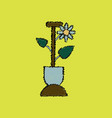 flat shading style icon shovel and flower vector image vector image