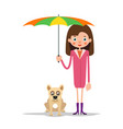 girl with umbrella and dog vector image