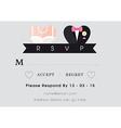 RSVP Wedding card heart theme vector image