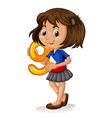 Phillipino girl holding letter nine vector image