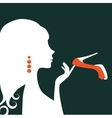 Beautiful elegant woman silhouette holding a shoe vector image