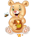 Cartoon funny baby bear holding honey pot isolated vector image