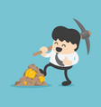 concept with businessman miner and coins working vector image