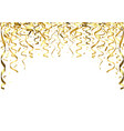 golden falling confetti and ribbons vector image
