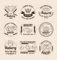 monochrome set of bakery shop logos or vector image