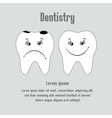 Sad aching tooth and cheerful healthy tooth vector image