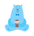 set of cartoon polar bears with cup of coffee vector image