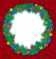 wreath tree branches Christmas balls vector image