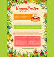 easter poster template with egg and floral frame vector image