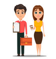business man and business woman cartoon vector image