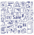 sale household doodle set vector image