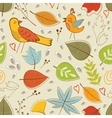 Autumn pattern with birds flowers and leaves vector image