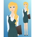 Pretty young business woman with a folder vector image