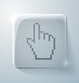 Glass square icon mouse hand cursor vector image