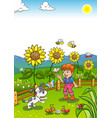 little gardener boy with sunflower and his dog vector image