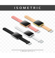 Set of realistic multicolored smart watch in vector image