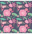 Summer Floral Pattern on Indigo Background vector image