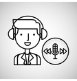 man hand drawing listening music microphone vector image