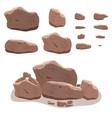 rocks stones set in cartoon style twelve vector image
