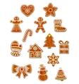 Gingerbread Christmas figures set vector image