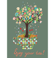 Funny card with tea cup and flowers on the tree vector image vector image