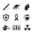 Set of Cancer icons with - shield virus cell vector image