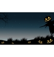 Halloween scarecrow and pumpkins silhouette vector image