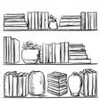 bookshelves sketch hand drawn interior elements vector image