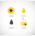 sunflower oil flat icons set vector image