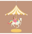 woman girl riding horse carousel cartoon flat vector image
