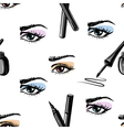 Seamless pattern of woman eye and makeup elements vector image