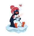 Cute penguin with cup of coffee vector image