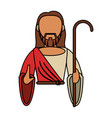 jesus christ catholic with stick vector image